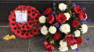 Wreaths laid at the Bailiwick War Memorial