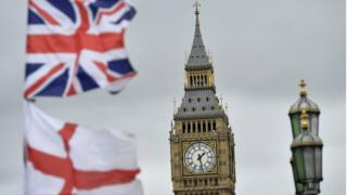A British Union flag, commonly known as a Union Jack, and an England flag fly in front of Big Ben, in London