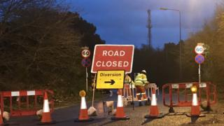 The road closure at the Orwell Bridge being put in place