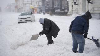 بارش برف سنگین در شهر آتلانتیک در نیوجرسی