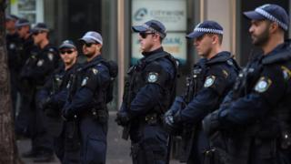 Police outside Parramatta mosque in Sydney, Australia, amid fears of anti-Muslim protest. 9 October 2015