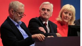 Jennie Formby with Jeremy Corbyn and John McDonnell