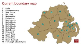 Current parliamentary boundaries in Northern Ireland