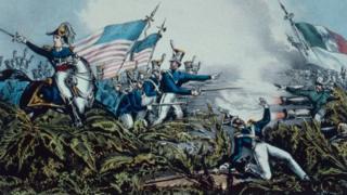 Una ilustración de una batalla entre estadounidenses y mexicanos