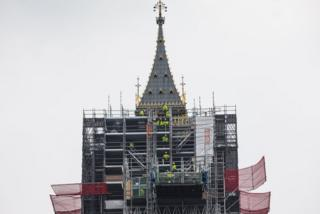 Work men move scaffolding on the Elizabeth Tower commonly known as Big Ben