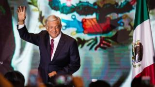 Andres Manuel Lopez Obrador waves to supporters in Mexico City 1 July 2018