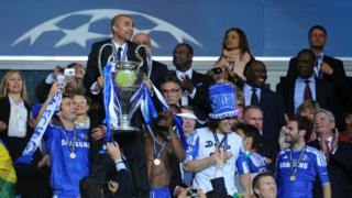 Roberto Di Matteo (centre) lifts the Champions League with Chelsea