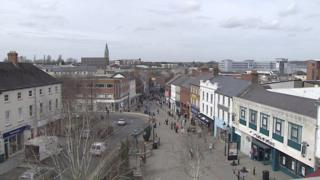 Aerial view of Lisburn city centre