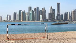 File photo showing a football goal on a beach in Doha, Qatar (21 April 2015)