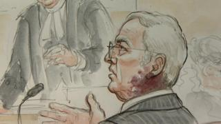 An artist's impression of Gordon Anglesea during the trial