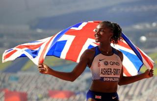 in_pictures Dina Asher-Smith celebrates the silver medal after the 100m Women's Final