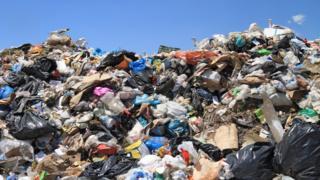 plastic bottles in landfill