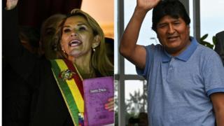 Jeanine Áñez y Evo Morales