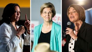Kamala Harris (left), Elizabeth Warren (centre) and Amy Klobuchar (right) will take the stage on 12 September