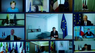 A picture shows a screen of a video conference call between members of the European Council, seen at the Elysee Palace in Paris, on March 26, 2020