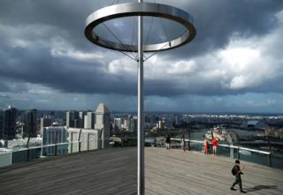 A view of a largely empty Marina Bay Skypark Observation Deck is pictured as tourism takes a decline due to the coronavirus outbreak in Singapore. 20 February 2020