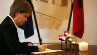 Nicola Sturgeon signed a book of condolence