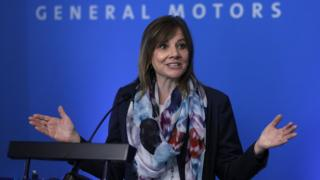 """General Motors (GM) CEO Mary Barra speaks to the news media before the automobiile maker""""s annual meeting of shareholders at GM world headquarters June12, 2018 in Detroit, Michigan."""