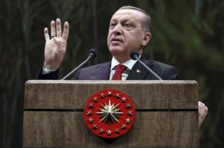 Turkey's President Recep Tayyip Erdogan addresses a group of farmers in Ankara, Turkey, on November 14, 2016.