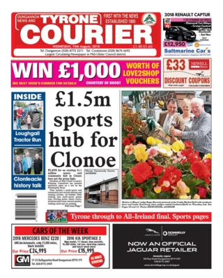 Front page of the Tyrone Courier