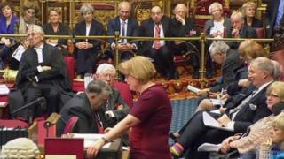 Theresa May watching proceedings in the House of Lords earlier this year