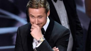 Ryan Gosling reacts as the true winner of best picture is announced at the Oscars on Sunday, Feb. 26, 2017, at the Dolby Theatre in Los Angeles.