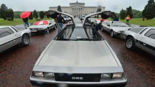 DeLorean with gullwing doors open