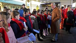 Prince Charles at Cardiff Central Station with school children
