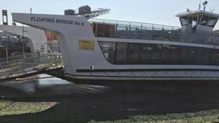 Chain ferry run a ground