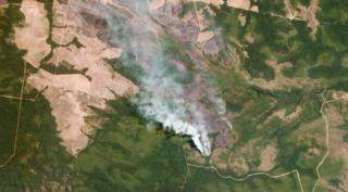 Satellite image of wildfires in Mato Grosso, Brazil