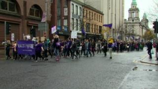 Rally for choice in Belfast city centre