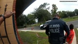 Police bodycam footage captured the moment a visibly distressed child was arrested at her school in Orlando.