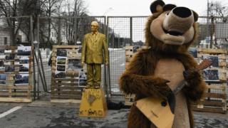 Акція протетсу проти виборів президента РФ у Києві