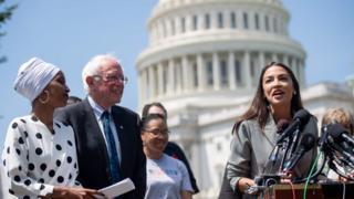 Representative Alexandria Ocasio-Cortez speaks alongside US Senator Bernie Sanders and Representative Ilhan Omar outside US capitol