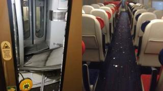 train carriage with debris