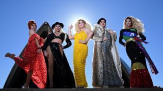 Josie Baker, Charisma Belle, Carmen Geddit, Decoda Secret and Jacqui St Hyde pose for a photo