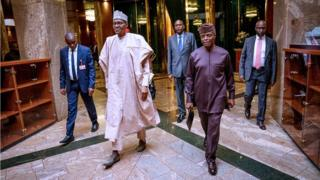 President Buhari and im deputy, Yemi Osinbajo for Aso Rock Abuja