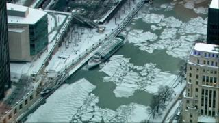 Aerial view of Chicago River