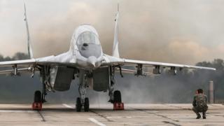 Украинский МиГ-29 во время военных учений
