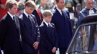 哈里王子在戴安娜王妃的葬礼上