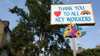 Sign saying thank you to all key workers