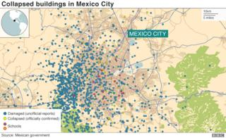 Collapsed building in Mexico City