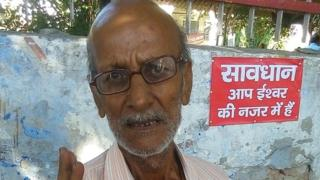 Krishna Kumar at the spot where he types documents for people by the central post office in Lucknow