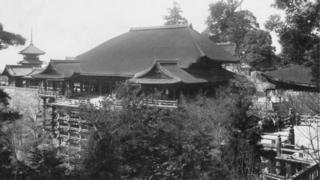 Circa 1930: A temple in Kyoto, Japan