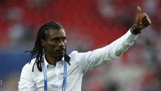 Aliou Cisse, Head coach of Senegal celebrates after the 2018 FIFA World Cup Russia group H match between Poland and Senegal at Spartak Stadium on June 19, 2018 in Moscow, Russia