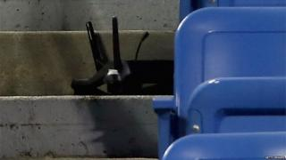 A drone sits in the stands at Louis Armstrong Stadium on 3 September 2015 in the Flushing neighborhood of the Queens borough of New York City.
