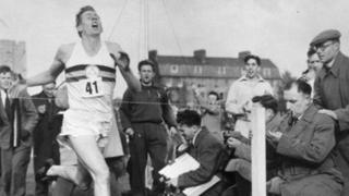 Sir Roger Bannister breaking the record