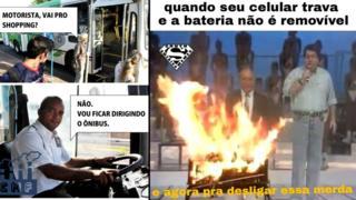 Do lado esquerdo, montagem publicada na página Capinaremos, e, do direito, na South America Memes