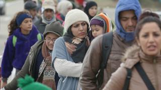 Migrantes entrando a Alemania en octubre de 2015.