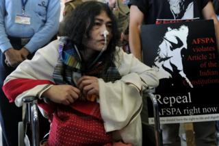 Social activist from Manipur, Irom Sharmila, who has been on a fast for 12 years demanding the repeal of the controversial Armed Forces Special Powers Act (AFSPA), arrives at the Indira Gandhi International Airport in New Delhi on March 3, 2013.